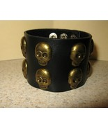 BRACELET PUNK MEN WOMEN WIDE BLACK LEATHER SKULL New #32 - $12.99