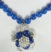 Stunning lady's blue jade necklace & pendant necklace free shipping - $19.99