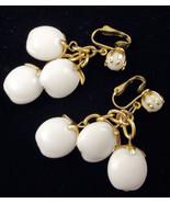 Vintage Hong Kong White Plastic Dangle clip on earrings goldt one - $18.00