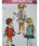 Simplicity 9089 Vintage 70s Pattern Girls Size 1 Flower Girl Dropped Waist - $9.95