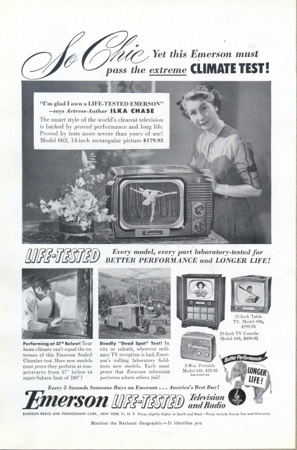 1951 Emerson TV Radio Actress-Author ILKA CHASE print ad