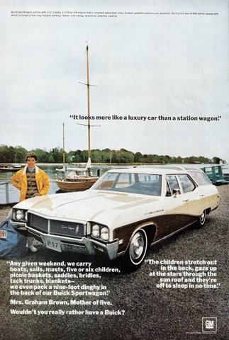1968 Buick Sportwagon riverside boats colour print ad