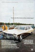 1968 Buick Sportwagon riverside boats colour print ad - $10.00