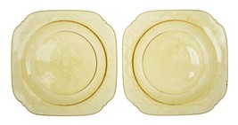 "Madrid Federal Antique Depression Glass Salad Sherbet 7.5"" Plates 8 Pc Set - $24.75"