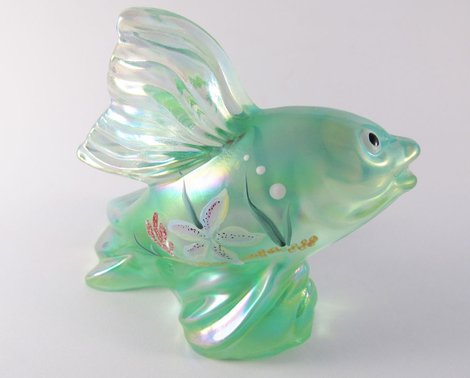Fenton iridized carnival koi fish seafoam green decorated for Koi fish figurines