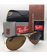 New RAY-BAN Sunglasses RB 3422-Q 9041 Gold & Brown Leather Aviator w/ B-... - $199.95