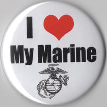 Marine I heart Love Large Button my military spouse - $2.99