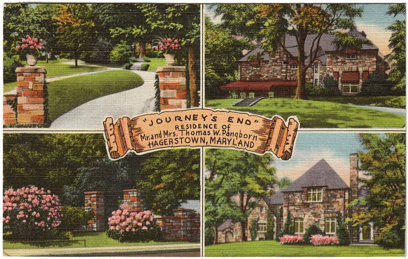 Vintage 1952 Linen Postcard Journeys End Hagerstown MD