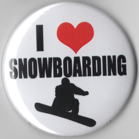 Snowboarding I heart Love Large Button snowboard winter