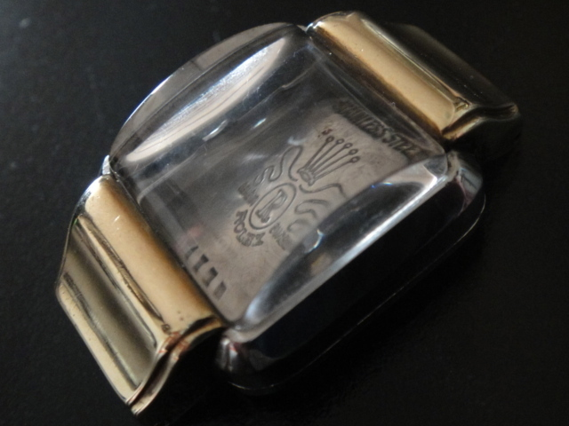 1)VINTAGE 40'S ROLEX 4375 GOLD & STEEL CASE COVER CRYSTAL RARE