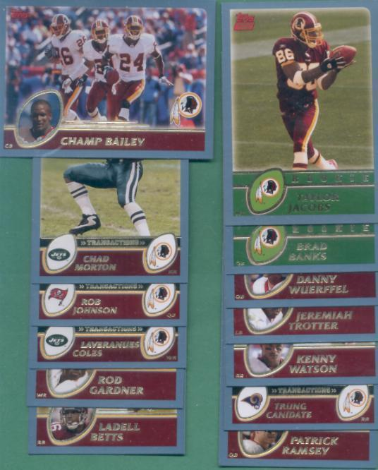 2003 Topps Washington Redskins Football Team Set