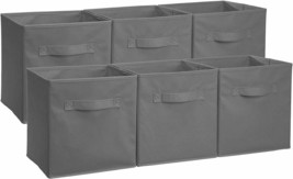 Set of 6 Gray Lightweight Collapsible Storage Bins for Toys Laundry Toil... - £37.80 GBP