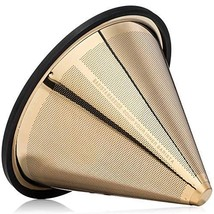 TITANIUM COATED GOLD Pour Over Coffee Filter - Reusable Stainless Steel ... - €46,55 EUR