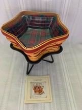 Longaberger Red Little Star Basket 2001 Evergreen Plaid Liner Wrought Stand & PP - $56.09