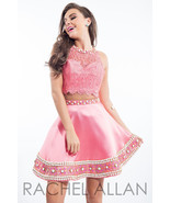 Flirty Lace Posh Beads 2-Pc Coral Pink Rachel Allan 4105 Short Prom Part... - $488.00