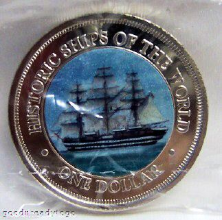 COOK ISLANDS AMERIGO VESPUCCI SHIP COLOR COIN UNC