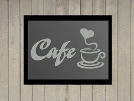 Cafe' Coffee Quote Silver Frosted Etched Glass Vinyl Wall Sticker Decal - $19.99+