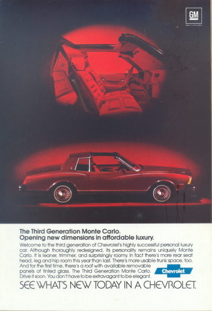 1979 Chevrolet 3rd Generation Monte Carlo print ad