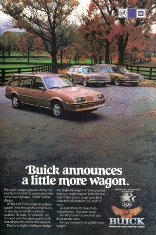 1983 GM Buick Skyhawk Limited Station Wagon print ad