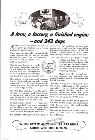 1942 Buick engines war goods story / history print ad