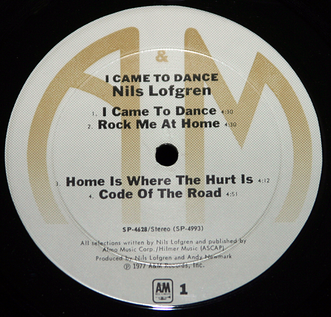 "Nils Lofgren  ""I Came To Dance""    LP"