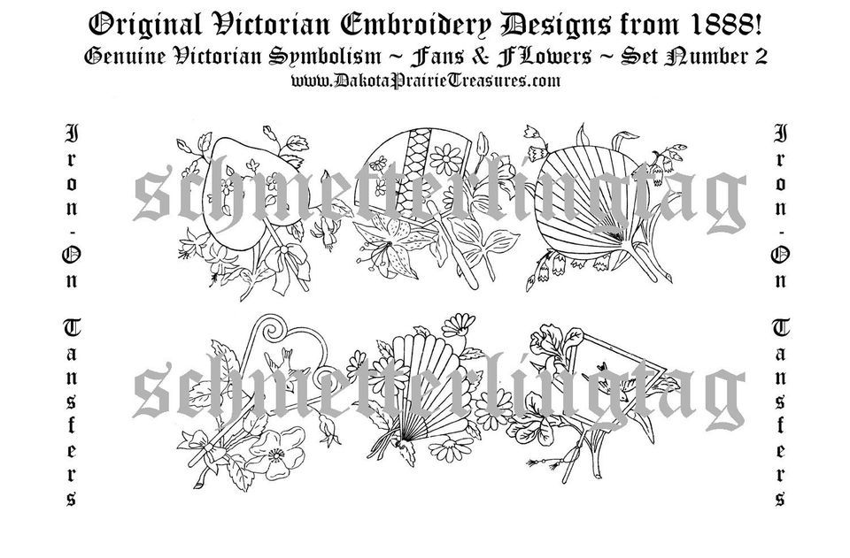 Victorian Embroidery Transfer Patterns Fans Birds2 1888
