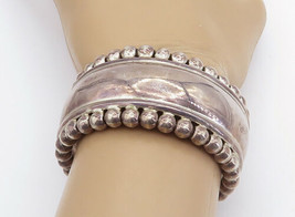 MEXICO 925 Sterling Silver - Vintage Shiny Fluted Trim Cuff Bracelet - B... - $173.07