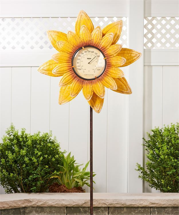 "63"" Sunflower Design Thermometer & Spinner Garden Stake Single Pronged NEW"