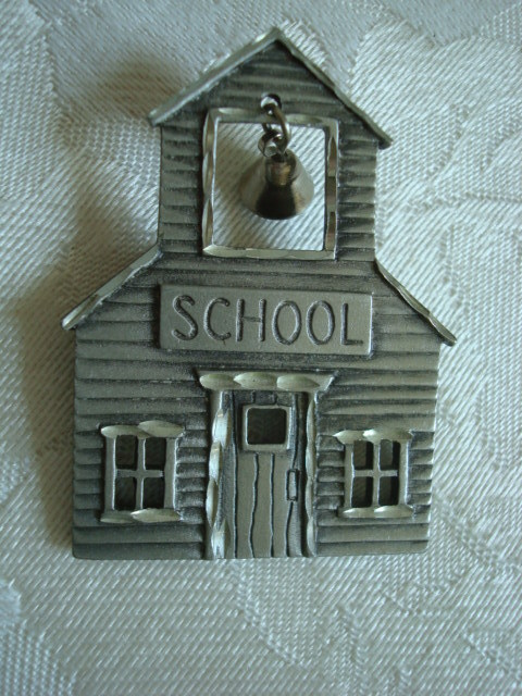 School House with Bell Pin ~ Brooch ~ Signed JJ ~ Take a Loo