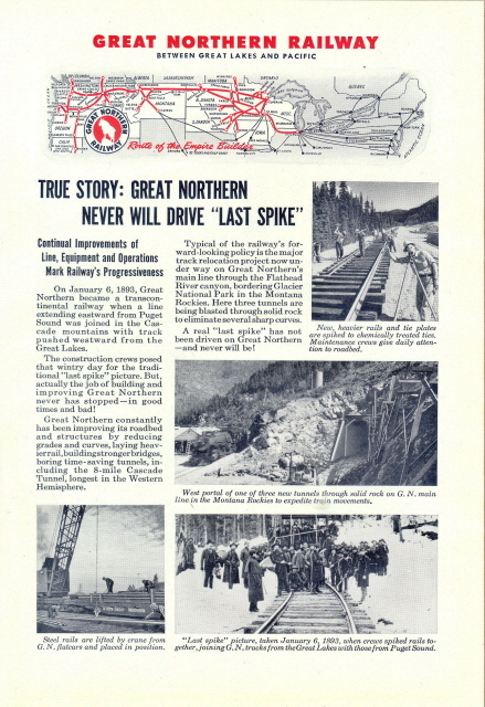 1946 Great Northern Railway LAST SPIKE picture print ad