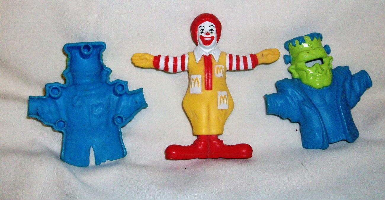 "3.5""Ronald McDonald Figurine #7 Frankenstein 2 Piece Snap On Costume  McDonalds"