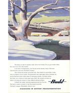 1946 Budd Train over bridge winter scene print ad - $10.00