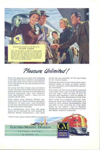 1948 GM Diesel Power Train Locomotives print ad