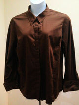 Lane Bryant 18 20 Top Brown French Cuff Plus Size Button Shirt Career - $19.58