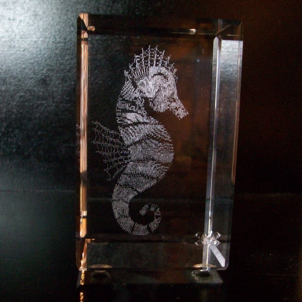 Crystal Paperweights, 3D Images, Seahorse, by Jaffa, New in Box