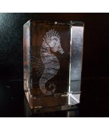 Crystal Paperweights, 3D Images, Seahorse, by Jaffa, New in Box - $48.00