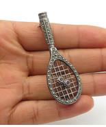 925 Silver - Vintage Amethyst & Marcasite Tennis Racket Brooch Pin - BP4255 - $36.02