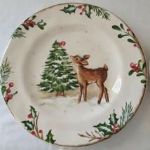"""Pier 1 Winters Wonder Deer Plate Christmas Tree Salad 8.5"""" Bread Dessert... - $26.99"""