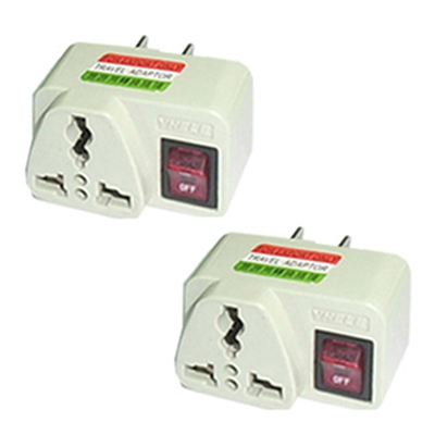 2X Universal Travel Power Plug Adapter USA with ON/OFF