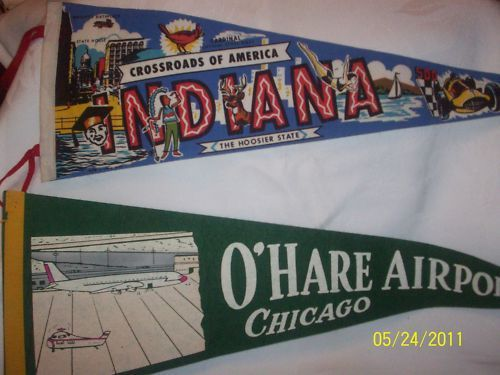 Vintage Souvenir State Pennants Lot CHICAGO & INDIANA