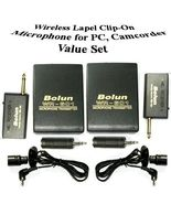 2x Wireless Lapel Clip-On Camcorder Microphone w 3.5mm - $28.99