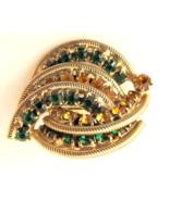 Vintage Art Deco Style Rhinestone pin brooch prong set stones gold tone - $22.00