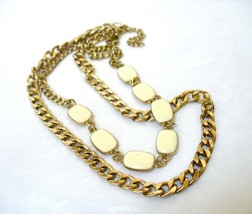 Double Chain Necklace, Ivory White Links, Curb Chain, Multiple Chains, M... - $18.00