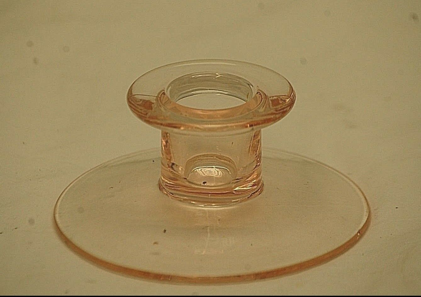 "Primary image for Vintage Fenton Pink Depression Glass Candlestick Candle Stick Holder 1-1/2"" b"