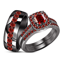 His & Her Red Garnet Engagement Ring Trio Set Black Gold Plated Pure 925... - $157.99