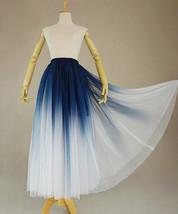Women Blue White Dye Tulle Skirt A-line Tie Dye Long Tulle Skirt Evening Skirts  image 2