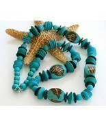 Vintage Handmade Wooden Necklace Chunky Turquoise Beads Long - $32.49 CAD