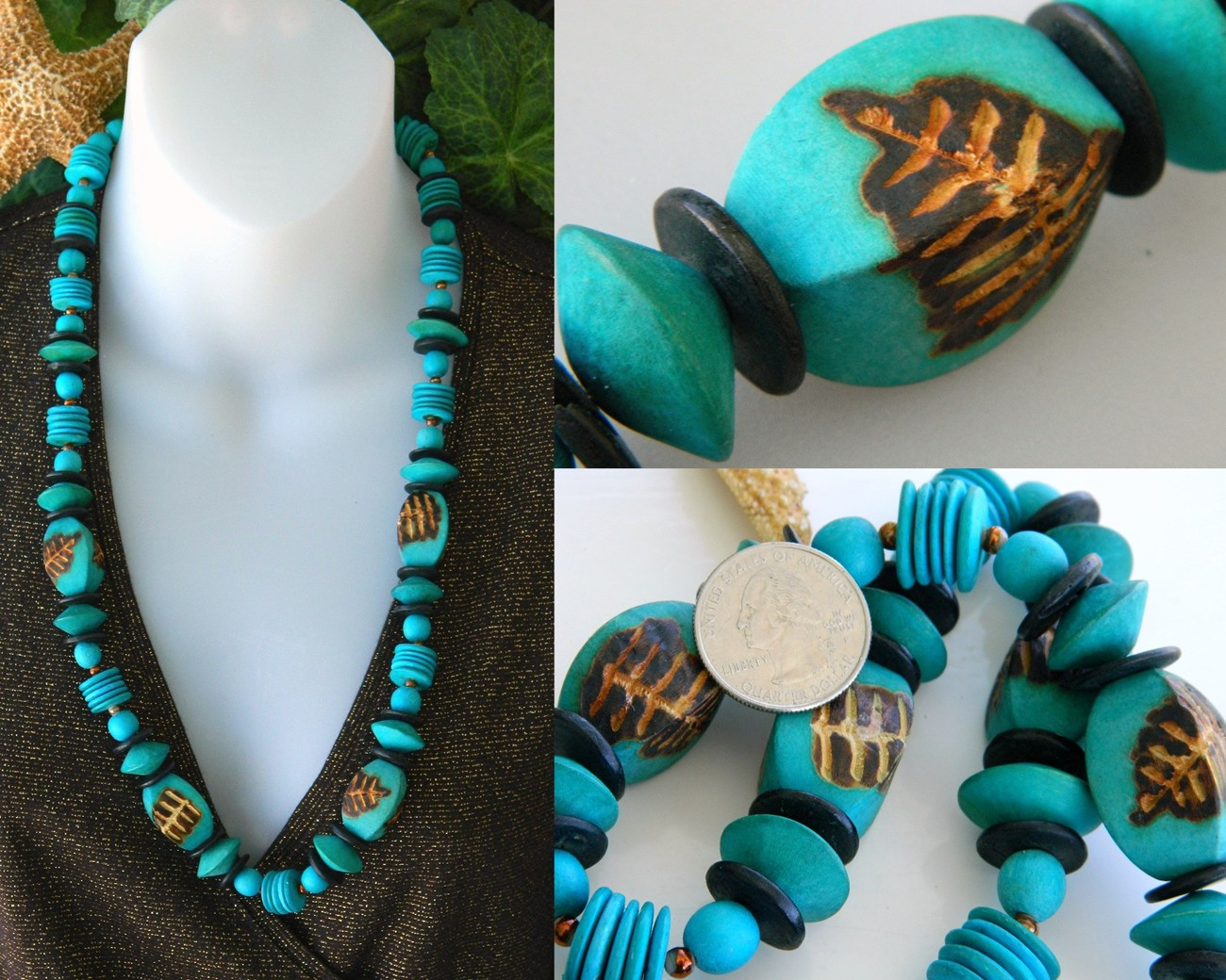 Wooden beads turquoise necklace vintage woodburning