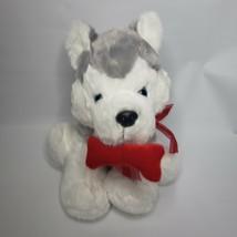 "Dan Dee Collector's Choice 10"" Husky Grey & White Dog Plush Red Bone - $7.99"