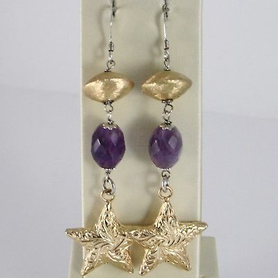 925 STERLING YELLOW SILVER PENDANT EARRINGS OVAL AMETHYST WORKED BIG STAR, SATIN